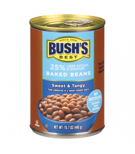 Bush's Best 25% Less Sugar & Sodium Baked Beans Sweet & Tangy - 15.7oz (445g) Food and Groceries Bush's Beans