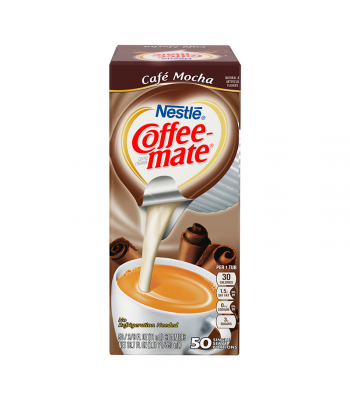 Clearance Special - Coffee-Mate - Cafe Mocha - Liquid Creamer Singles - 50-Piece x 3/8fl.oz (11ml) ** Best Before: End of June 18 ** Clearance Zone