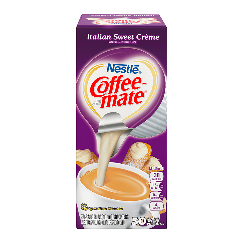 Coffee Mate Italian Sweet Cream Liquid Creamer Singles 50 Piece X 38floz 11ml