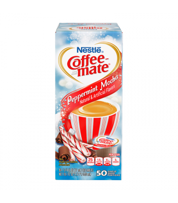 Clearance Special - Coffee-Mate - Peppermint Mocha - Liquid Creamer Singles - 50-Piece x 3/8fl.oz (11ml) **DAMAGED** Clearance Zone