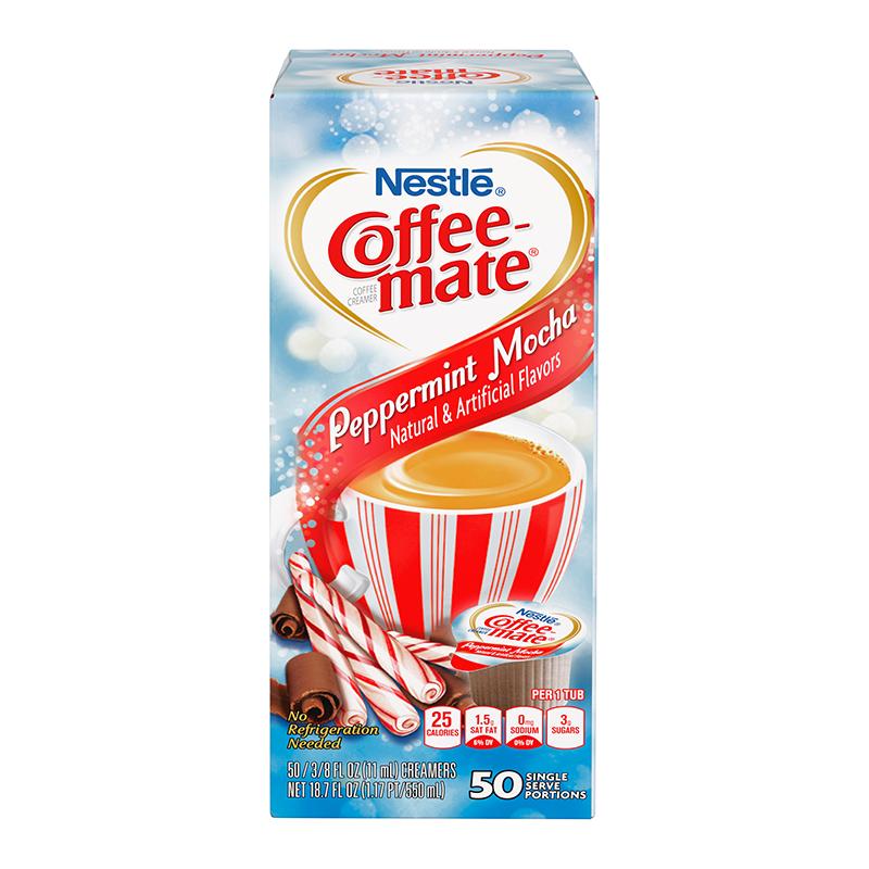 Coffee Mate Peppermint Mocha Liquid Creamer Singles 50 Piece X 38floz 11ml