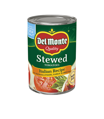 Del Monte Stewed Tomatoes Italian Recipe 14.5oz (411g) Tinned Groceries