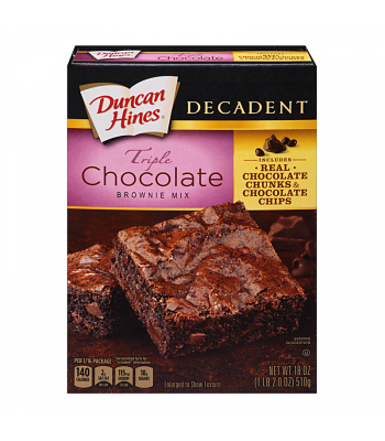 Duncan Hines Decadent Triple Chocolate Brownie Mix 18oz (510g)