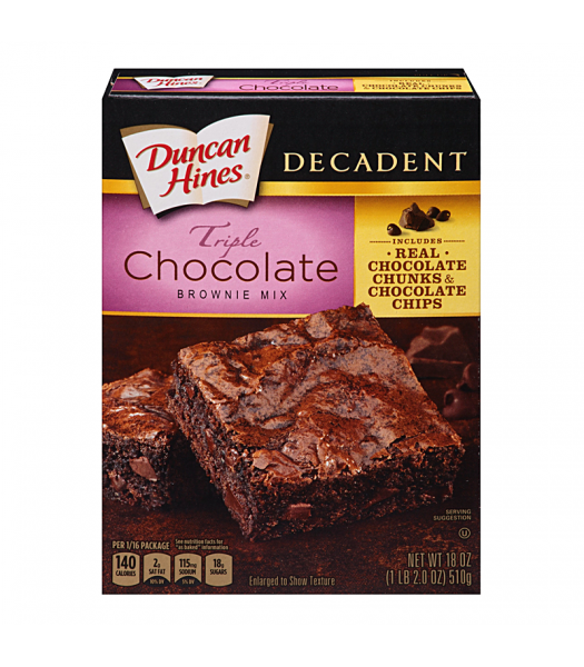 Duncan Hines Decadent Triple Chocolate Brownie Mix 18oz (510g) Baking & Cooking Duncan Hines