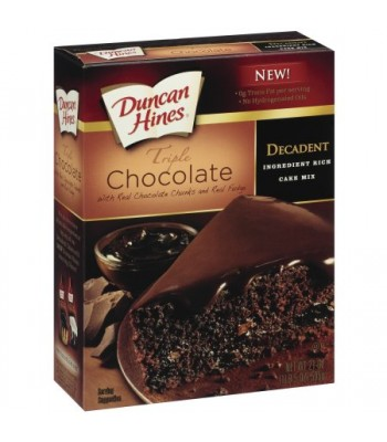 Duncan Hines Decadent Triple Chocolate Cake Mix 21oz (595g) Baking & Cooking