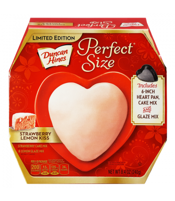 Duncan Hines - Perfect Size Strawberry Lemon Kiss - Heart-Shaped Tin 8.6oz (245g) Food and Groceries Duncan Hines
