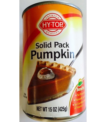 Hy-Top 100% Solid Pack Pure Pumpkin 15oz (425g) Tinned Groceries