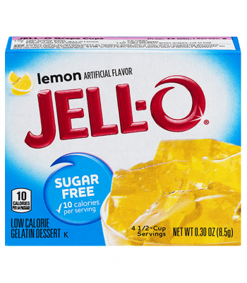 Clearance Special - Jell-O - Lemon Gelatin - Sugar Free 0.30oz (8.5g) ** Slight Damage ** Clearance Zone