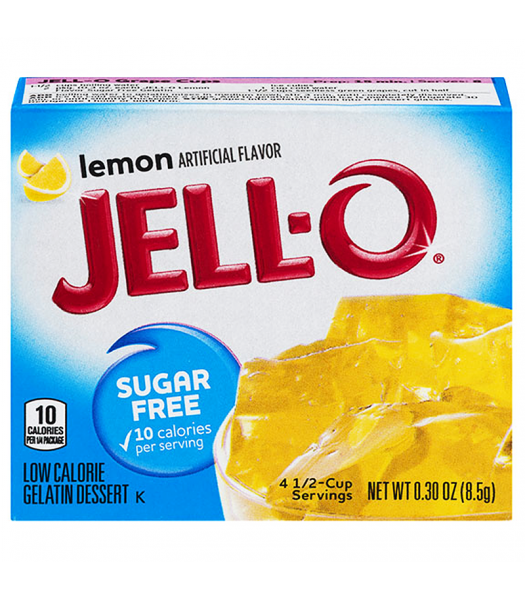 Jell-O - Lemon Gelatin - Sugar Free 0.30oz (8.5g) Jelly & Puddings Jell-O