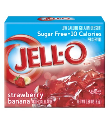 Jell-O - Strawberry & Banana Gelatin Dessert - Sugar Free - 0.3oz (8.5g)  Food and Groceries Jell-O
