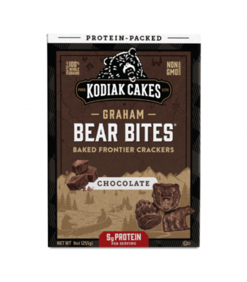 Kodiak Cakes Graham Bear Bites Chocolate Baked Crackers  - 9oz (255g) Snacks and Chips