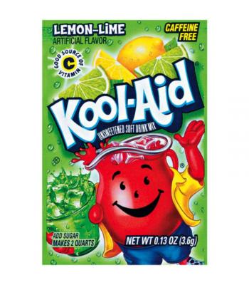 Kool Aid Lemon-Lime Unsweetened Drink Mix Sachet 0.13oz (3.6g) Soda and Drinks