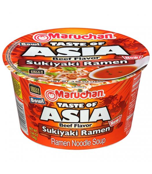 Maruchan Taste of Asia Beef Flavour Sukiyaki Ramen Noodle Soup Bowl - 3.66oz (104g) Food and Groceries Maruchan