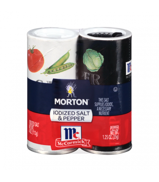 Morton Iodized Salt & Pepper Shakers - 5.25oz (148g) Food and Groceries
