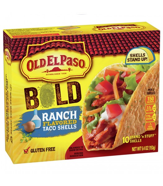 Old El Paso Bold Ranch Flavoured Stand 'n Stuff Taco Shells 10-Pack - 5.4oz (153g) Food and Groceries