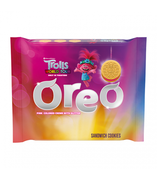 Oreo Golden Trolls Pink Glitter Creme - 10.7oz (303g) Cookies and Cakes Oreo