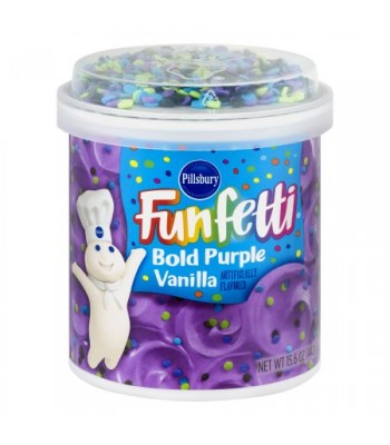 Clearance Special - Pillsbury Bold Purple Vanilla Funfetti Frosting 15.6oz (442g) **DAMAGED** Clearance Zone