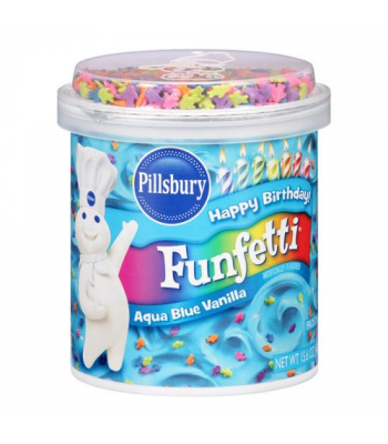 Pillsbury Aqua Blue Vanilla Funfetti Frosting 15.6oz (442g) Food and Groceries Pillsbury