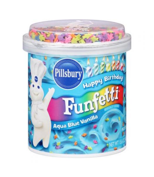 Pillsbury Aqua Blue Vanilla Funfetti Frosting 15.6oz (442g) Food and Groceries Pillsbury