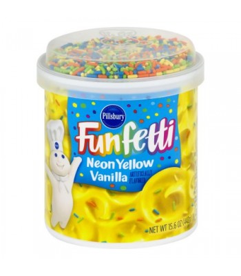 Pillsbury Neon Yellow Vanilla Funfetti Frosting 15.6oz (442g)  Food and Groceries Pillsbury