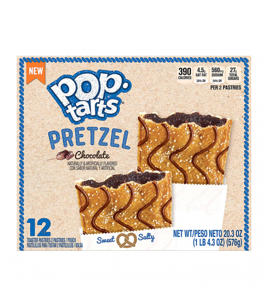Pop Tarts Pretzel Chocolate 12-Pack (6 x 2 Toaster Pastries) - 20.3oz (576g) Cookies and Cakes Pop Tarts