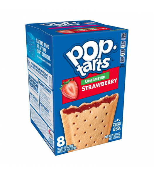 Pop Tarts Unfrosted Strawberry 8-Pack - 13.5oz (384g) Cookies and Cakes Pop Tarts