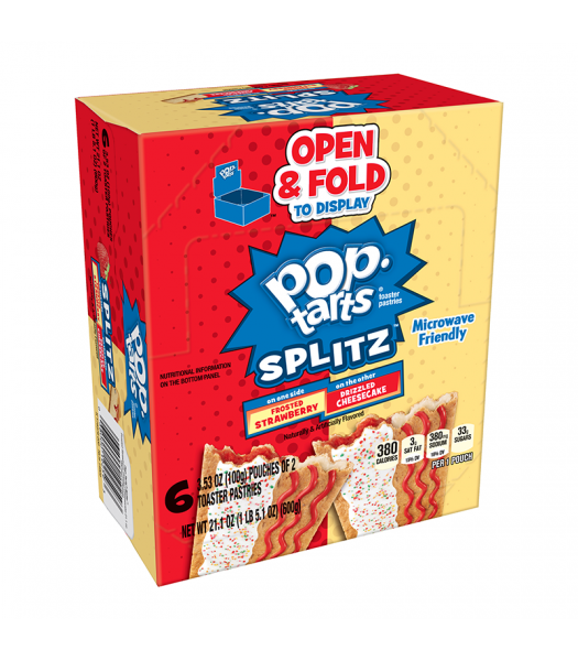 Pop Tarts Splitz Frosted Strawberry & Cheesecake 12-Pack (6 x 2 Toaster Pastries) - 21.1oz (600g) Cookies and Cakes Pop Tarts