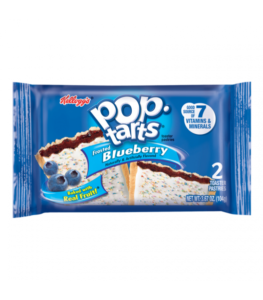Pop Tarts - Frosted Blueberry - Twin Pack - 3.67oz (104g) Cookies and Cakes Pop Tarts