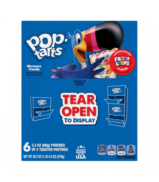 Pop Tarts Limited Edition Froot Loops Flavour 12-Pack (6 x 2 Toaster Pastries) - 20.3oz (576g) Cookies and Cakes Pop Tarts