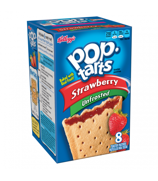 Pop Tarts Unfrosted Strawberry 8 Pack 14.7oz (416g) Cookies and Cakes Pop Tarts
