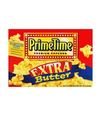 PrimeTime Premium Popcorn Extra Butter 7.8oz (222g) Snacks and Chips PrimeTime