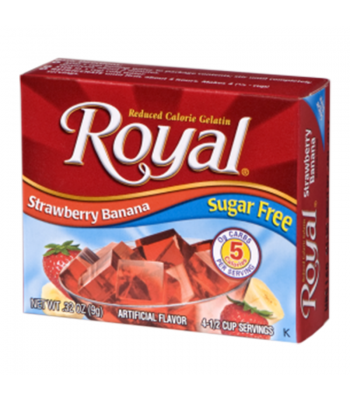 Royal Gelatin Sugar Free - Strawberry Banana - 0.32oz (9g) Food and Groceries Royal