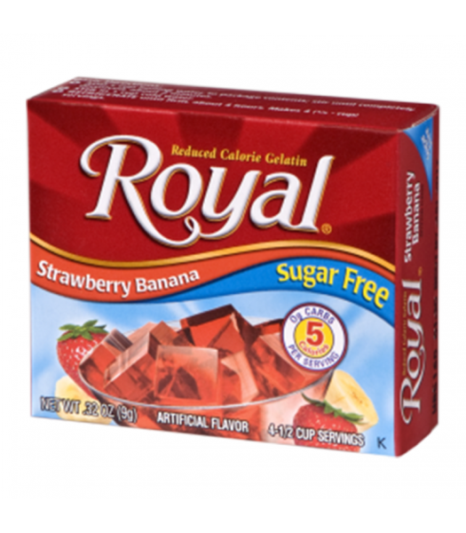 Royal Gelatin Sugar Free - Strawberry Banana - 0.32oz (9g) Food and Groceries