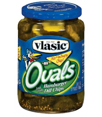 Vlasic Ovals Hamburger Dill Pickle Chips 24oz (710ml) Food and Groceries Vlasic