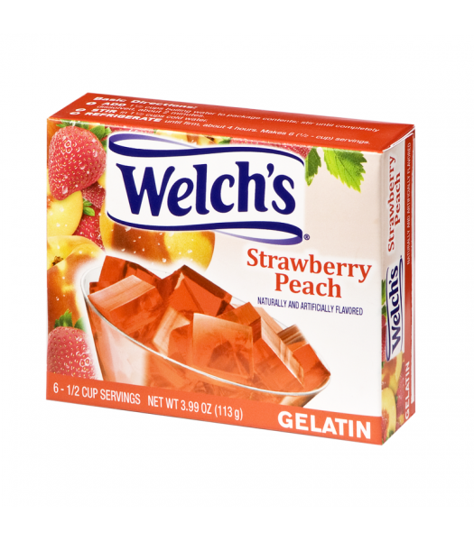 Welch's Strawberry Peach Gelatin 3.99oz (113.1g) Jelly & Puddings Welch's
