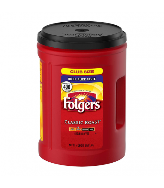 Folgers Classic Roast Coffee - 51oz (1.4kg) Soda and Drinks