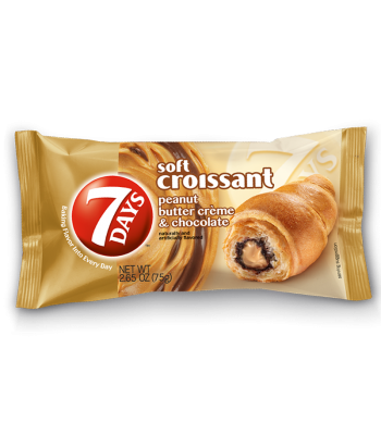 7 Days Soft Filled Croissant Peanut Butter & Cocoa 2.65oz (75g) Snack Cakes