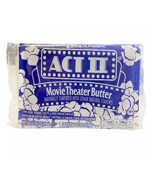 Act II Movie Theater Butter Popcorn 2.75oz (78g) Snacks and Chips