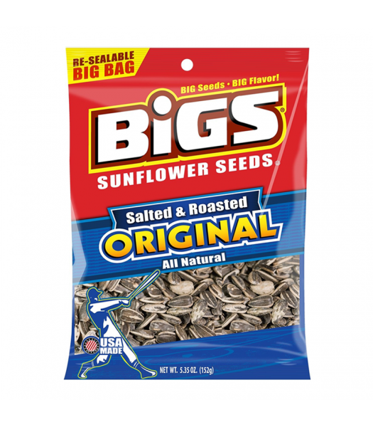 BIGS Sunflower Seeds -Salted & Roasted Original - 5.35oz (152g) Snacks and Chips