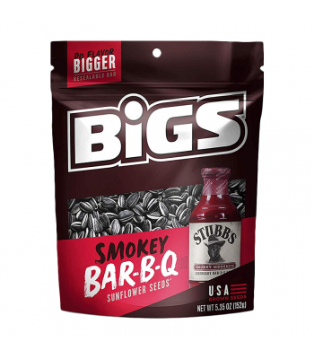 Clearance Special - BIGS Sunflower Seeds - Stubb's Smokey Sweet Bar-B-Q - 5.35oz (152g) **Best Before: March 20** Clearance Zone