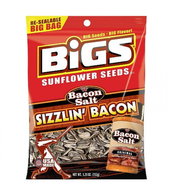 BIGS Sunflower Seeds - Bacon Salt Sizzlin' Bacon - 5.35oz (152g) Snacks and Chips