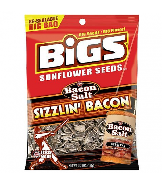 BIGS Sunflower Seeds - J&D's Sizzlin' Bacon Salt - 5.35oz (152g) Snacks and Chips