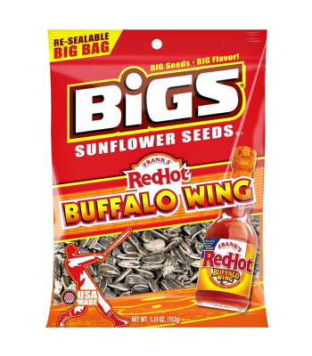 BIGS Sunflower Seeds - Frank's Red Hot Buffalo Wing - 5.35oz (152g) Snacks and Chips