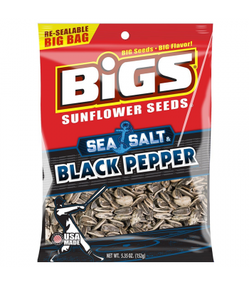 Clearance Special - BIGS Sunflower Seeds - Sea Salt & Cracked Black Pepper - 5.35oz (152g) **Best Before: 05 September 19** Clearance Zone