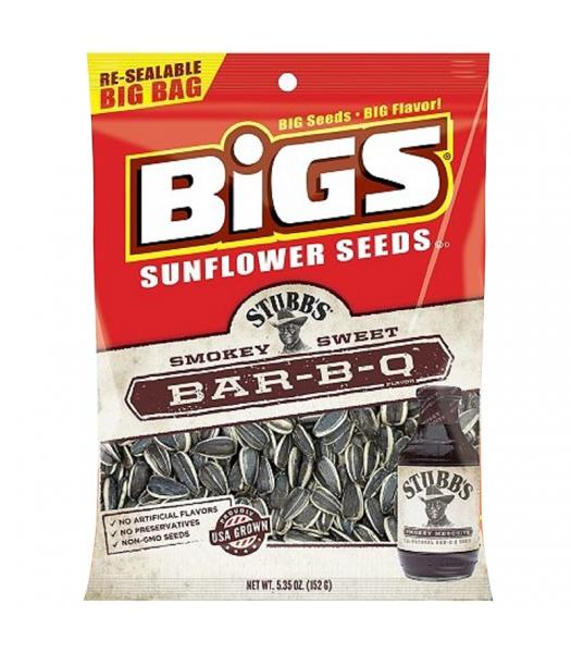 BIGS Sunflower Seeds - Stubb's Smokey Sweet Bar-B-Q - 5.35oz (152g) Snacks and Chips