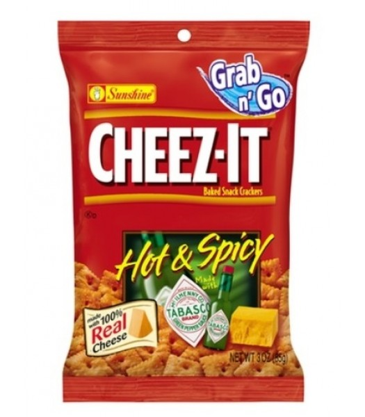 Cheez-it Baked Snack Crackers Hot & Spicy Tabasco 3oz (85g) Crackers Cheez It