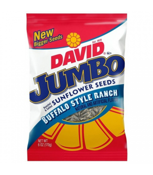 Clearance Special - David's Sunflower Seeds Jumbo Buffalo Style Ranch 5.25oz (149g) **Best Before: 23 Jan 21** Clearance Zone