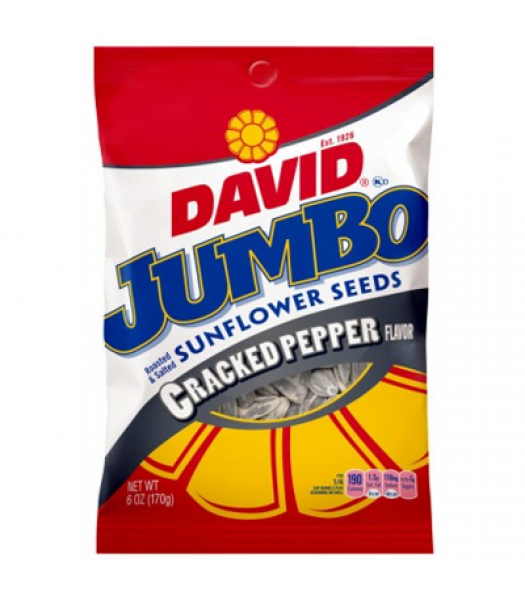 David's Sunflower Seeds Jumbo Cracked Pepper 5.25oz (149g) Snacks and Chips David