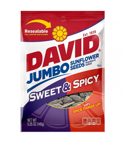 David's Sunflower Seeds Jumbo Sweet & Spicy 5.25oz (149g) Snacks and Chips David