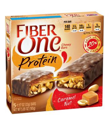 Fiber One Protein Chewy Bars - Caramel Nut - 5 Bar Box 5.85oz (165g) Chocolate, Bars & Treats
